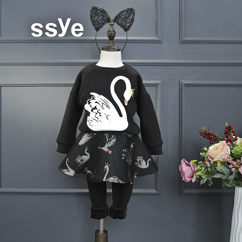 Toddler Girls Clothing Sets 2017 Autumn Winter Black Long Sleeve Cartoon Swan Pullover Top+Skirt Pant 2pc Baby Girls Outfits<br><br>Aliexpress