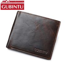 Buy Newest RFID Blocking Wallet GUBINTU Brand Casual Purse Men Card Holder Genuine Leather Wallet Short Carteras Male Gifts for $12.59 in AliExpress store