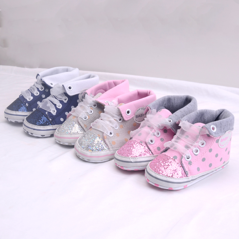 Infant Newborn Baby Girls Boy Glitter Polka Dots Autumn Lace-Up First Walkers Sneakers Shoes Adorable RibbonToddler Canvas Shoes 27