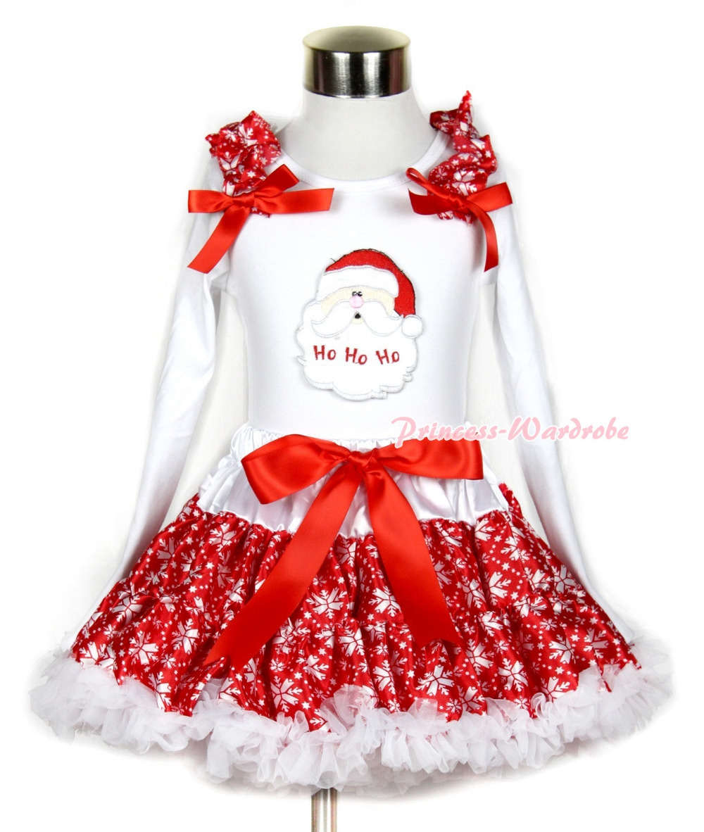 Xmas Red Snowflakes Pettiskirt with Santa Claus Print White Long Sleeve Top with Red Snowflakes Ruffles and Red Bow MAMW277<br>