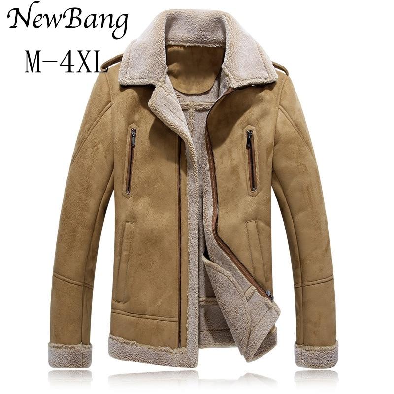 4XL 5XL  Men Winter Leather Jacket Khaki Leather Jacket Big Size Faux Fur Lined Coats Winter Faux Leather Jacket