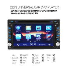 Universal Double Din Car Video Player 2 Din Car DVD Player 6.2 inch DVD WIFI Network GPS Map Hands-free Call with GPS Navigation(China)