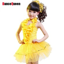 Girls Dance Dress White/Yellow/Blue/Rose Samba Fitness S-XXXL Latin Ballroom Dance Dresses Kids 2017 New Children Party Dress(China)