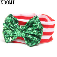 Hot Sale Christmas Kids Hairbands For Girls And Baby Big Messy Sequin Bow Striped Headband Children Christmas Hair Accessories