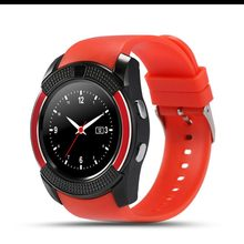 2017 Smart GSM watch SIM phone android bluetooth smart watch with camera for Samsung iPhone round OGS screen GSM watch red V8