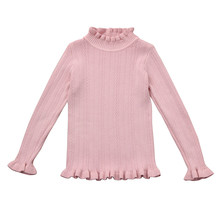 2018 Fashion Baby Girls Knitted Sweaters Cotton Long Sleeve Pullover Crochet Blouse Spring Autumn Children Clothing Tops Clothes(China)