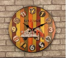 021389 14 Inch Cars Vintage Wooden Wall Clock Large Shabby Chic Rustic Kitchen Times Quatz Home Antique Style(China)