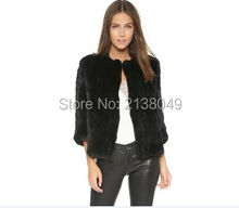 SF0019 Top quality hot sale women rabbit knitted fur jackets real fur coats