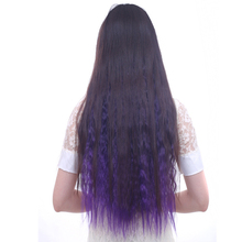 Your Style 24'' Ombre Colored Hair Piece Natural Clip In Hair Extensions Synthetic Curly Hairpiece Half Full Head Black Brown