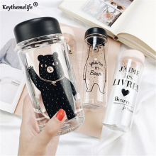 Keythemelife Plastic Transparent Bear Printing Water Bottles Space kettle Large Capacity Beverage Tea Juice kettle 500ml 350ml D