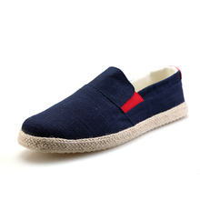 free shipping black blue mans flats youth boys stylish hemp cloth drive shoes summer breathable mens flat canvas boat shoe men(China)