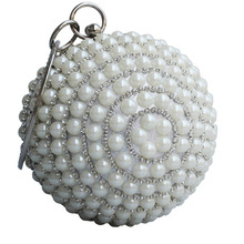 Luxury Women Pearl Beading Evening Bag Round Diamond Bridal Wedding Party Hand Bags Chain Clutch Mini Dinner Purse bolso XA206H