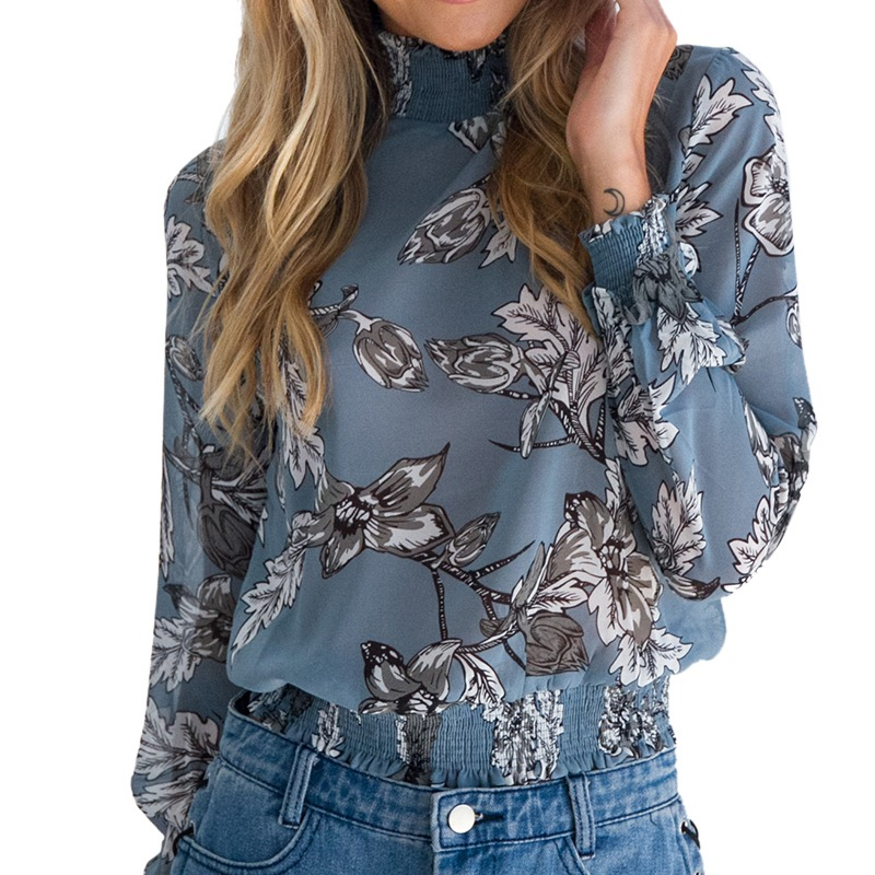 LASPERAL Chiffon Shirt Women Long Sleeve Blouse Top Fashion Vintage Floral Print Blouse Shirt chemise blusa feminina Top 2018 7