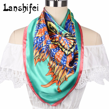Women 2017 New Fashion 90*90 CM Imitat Silk Square Scarf High Quality Plain Silk Printed Hot Sale Woman Neck Shawl Wraps Echarpe(China)