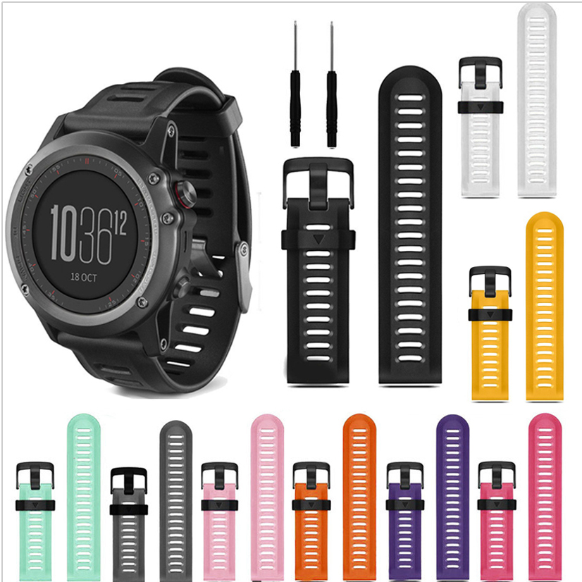 12 Colors 26mm Width Outdoor Sport Silicone Strap Watchband for Garmin Band, Silicone Band for Garmin Fenix 3 GMFNX3SB<br><br>Aliexpress
