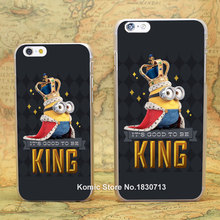 King Bob lovely minion Grey Pattern hard transparent clear Cover Case for iPhone 4 4s 5 5s 5c 6 6s 6 Plus