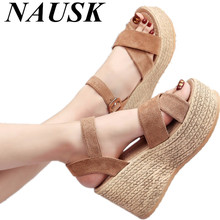 2017 Suede Gladiator Sandals Platform Wedges Summer Creepers Casual Buckle Shoes Woman Sexy Fashion High Heels