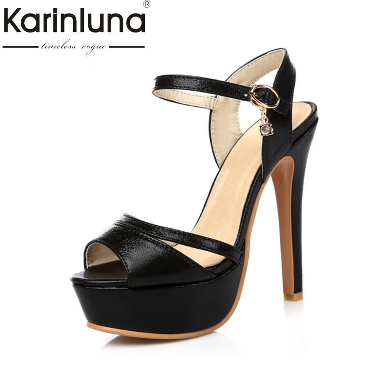 KARINLUNA 2017 Small Big Size 30-48 Sexy Super Thin High Heels Women Sandals Platform Gold Sliver Woman Party Wedding Shoes<br>