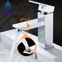 COROTO 2017 New Designers Bathroom Faucet 360 Rotating Chrome Bathroom Basin Faucet Brass Mixer Tap Silver Or Black Gold Faucet