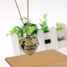Cindiry New Sweet Heart Vintage Retro Chain Pocket Watch Crystal Pendant Necklace Lady Girl Gift P35