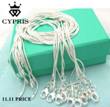 mother's day retail 16 18 20 22 24 inch bulk c008 fashion silver 1MM snake chain accessory jewelry findings stamp CYPRIS 925