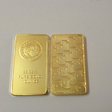 1pcs/lot 24k Gold Replica .999   Australia Perth Mint gold plated bullion bar  gold clad Souvenir coin