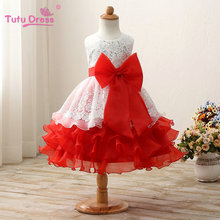 Gorgeous Girl Princess Big Bow Dress Child Clothes Girl's Bridemaid Dress For Wedding Evening Birthday Party(China)