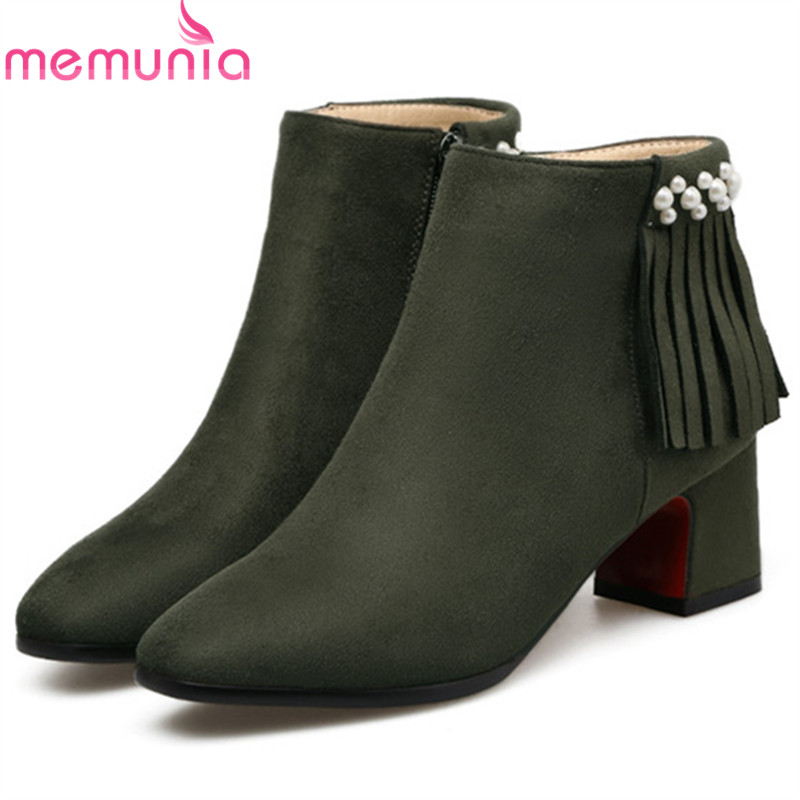MEMUNIA Big size 34-43 fashion boots sexy lady high heels shoes woman ankle boots for women party tassel flock zip<br>