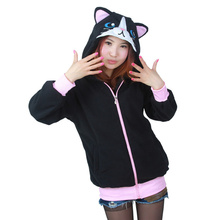 DOUBCHOW Women's Halloween Black Cat Hoodie Sweatshirt Female 2017 Fashion School Teenages Girls Cartoon Cute Lounge Wear Coat