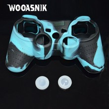 Blue New colorful Silicone protective case Skin Cover for PS3 console cases shell controller protector + white rocker caps(China)