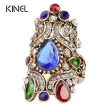 Buy Unique Turkey Jewelry Rings Women Fashion Love Engagement Gift Color Gold Mosaic Crystal Crown Anillos for $1.88 in AliExpress store