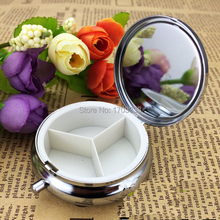 Wholesale 600PCS Silver Blank Pill Boxes Metal Organizer Box of Medicine Customized DIY Promotion Gifts -DHL Free Ship(China)