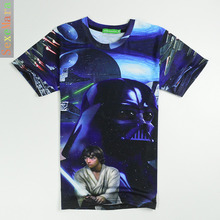 Amazon Ebay Foreign Trade Men's Wear Star Wars Black Warrior 3D Printing Short Sleeve T Pity