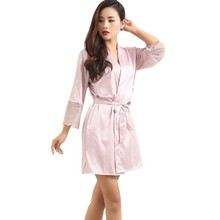 Mid-sleeve Sexy Women Deep-V Nightwear Robes Plus Size Lace Silk Female Bathrobes Sleepwear(China)