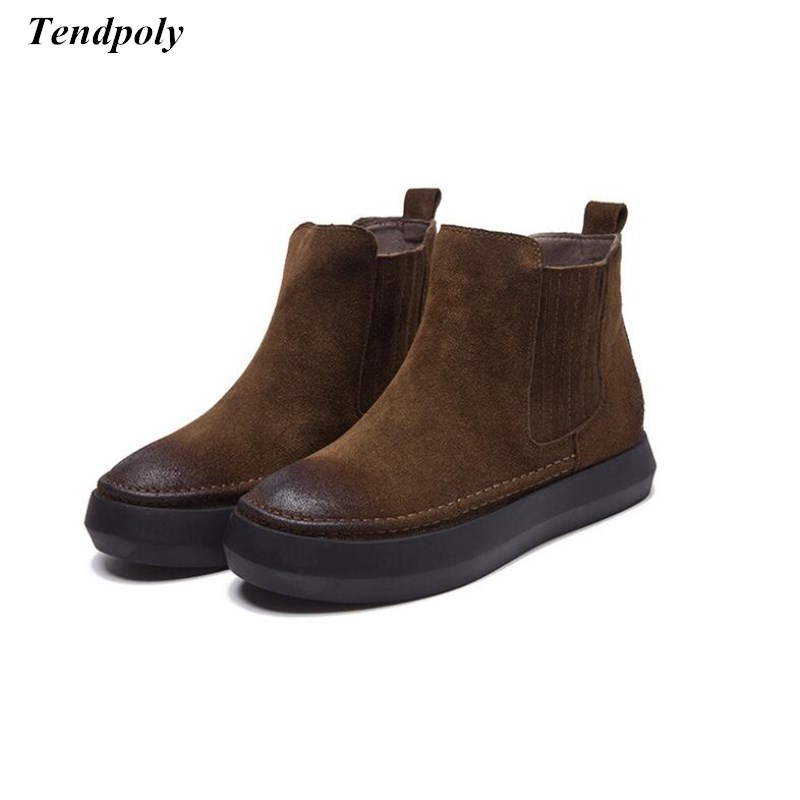 Autumn and winter new England wind leather retro Martin boots casual thick with flat matte boots Hot wild students fashion shoes<br>