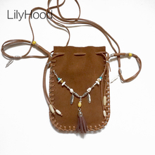 2017 Female Real Leather Small Bag Brown Beaded Feathers Hippie Indian Bohemian Boho Chic Music Festival Ibiza Style Pouch Bag
