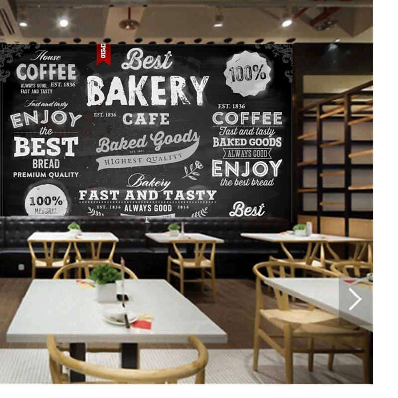 Custom 3D modern wallpaper, bread cake shop pastry icon for the restaurant cafe bar background wall waterproof PVC wallpaper<br>