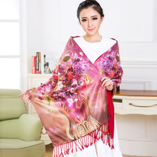 TA Hangzhou new silk scarves autumn long shawl long mulberry silk scarves women double layer brushed scarves wholesale