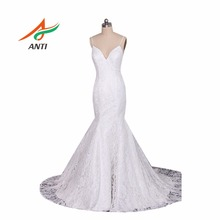 ANTI Romantic V-neck Lace Princess Mermaid Wedding Dress 2017 Sexy Spaghetti Straps Robe De Mariage Bride Gown Plus Size HQY013(China)