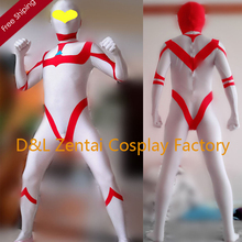 Free Shipping DHL White&Red Ultraman Great Costume Superhero Zentai Cosplay Lycra Spandex Halloween Costumes Open Eyes UG1330(China)