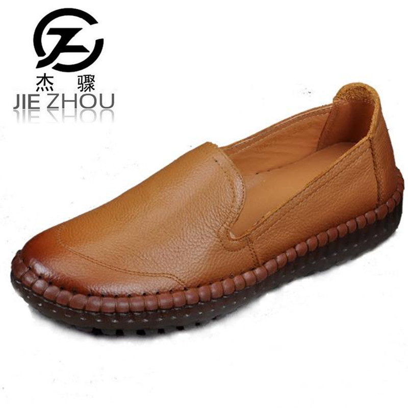2018 spring and autumn Genuine leather mom shoes in the elderly soft bottom with flat casual shoes Plus Size Women Shoes <br>