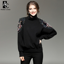 autumn winter runway designer womans sweaters black white red knitted sweater turtleneck colorful beading shoulder cute sweater