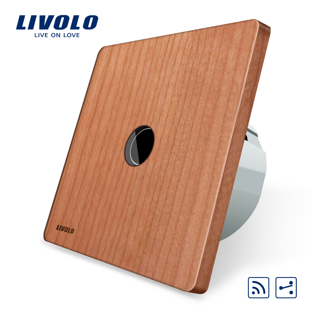 Livolo  EU Standard 1Gang 2 Way, Remote Switch, Wireless Switch AC 220-250V ,VL-C701SR-21,Cherry Wood Panel, Without Mini Remote<br>