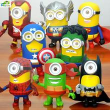HOT!! Setof 8 3D Eye Minion Cos Cartoon Avengers 2 Super Hero Batman Iron man Spriderman Hulk PVC Action Figure Kids toy Doll