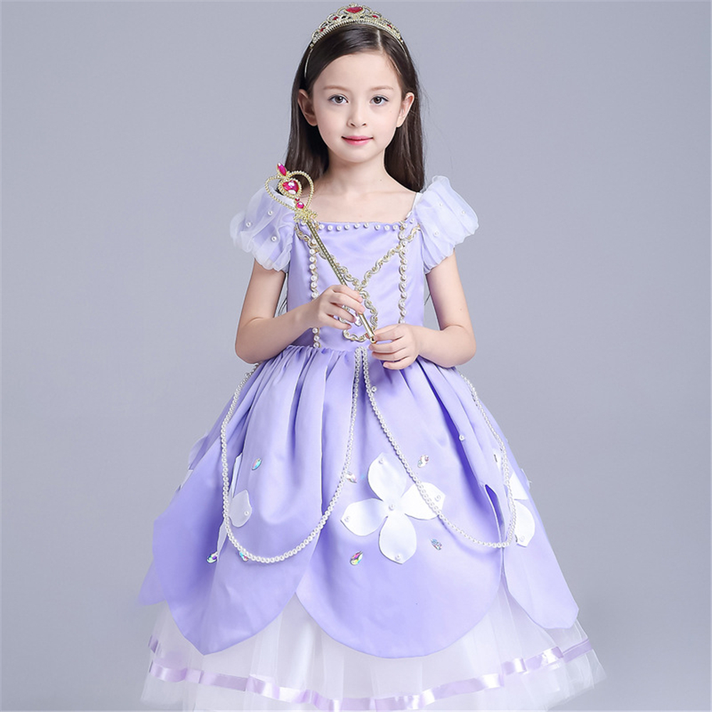 Baby Girl Clothes Children Aurora Princess Dresses Kids Sofia Long hair Princess Dress for Girls Christmas Cosplay Costume 3-10y<br><br>Aliexpress