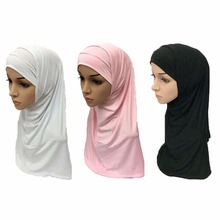 Beautiful Plain Hijab Muslim Islamic Hijab Soft Breathable Scarf Woman Amira Cap 2 Pieces Set