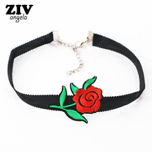 ZIVangela New Hot Sale Elegant Embroidery Rose Choker Necklace Luxurious chain necklace accessories Club party women necklace