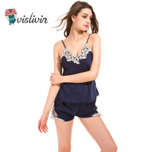 Vislivin 2017 high quality new design summer pajamas sets free tops + short pants two pieces pijamas sets nightwear wholesale(China)