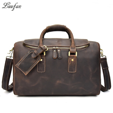 Genuine leather Men travel duffel Zipper around thick cow leather travel bag vintage Real leather weekend bag brown luggage case(China)