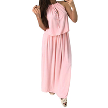 Buy New Solid Long Dress Women Sleeveless Casual Halter Maxi Dresses Split Sexy Beach Summer Sundress Plus Size Boho Clothes GV051